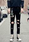找到自己品牌 男 時尚 街頭 潮 黑 破洞 掛件裝飾 牛仔褲 九分褲 小腳褲 窄管褲