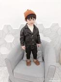 男童皮衣1-3歲冬裝寶寶加絨洋氣外套兒童休閒皮夾克潮 深藏blue