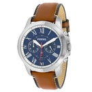 FOSSIL 天才男爵羅馬時標精緻皮革腕錶(FS5210)-藍x44mm