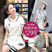 克妹Ke-Mei【AT53743】GIRLY俏皮甜心字母立領上衣+百摺裙洋裝
