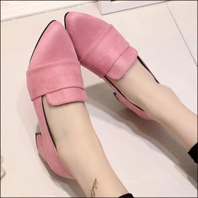 包鞋LoVie韓版甜美氣質簡約純色磨砂麂皮淺口尖頭套腳中跟粗跟中跟鞋包鞋單鞋【02S4226】
