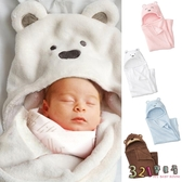 包巾睡袋 嬰兒連帽毛毯抱毯被子-保暖珊瑚絨包被-321寶貝屋