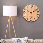 掛鐘木制掛表簡約鐘時尚現代羅馬北歐原木質客廳創意靜音木紋時鐘 KB7524 【歐爸生活館】