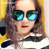 兒童板材框太陽鏡時尚墨鏡男童女童炫彩反光墨鏡寶寶太陽鏡
