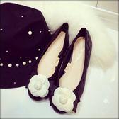 圓頭山茶花裝飾古典娃娃鞋包鞋女鞋平底鞋芭蕾舞鞋黑色(35-41加大尺碼 )現貨