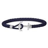 【台南 時代鐘錶 PAUL HEWITT】德國時尚 PHREP 船錨手環 深藍色皮革銀扣迷你