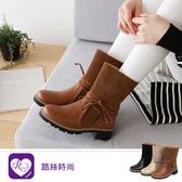 韓系時尚休閒拼接繫帶造型磨砂中跟小矮靴/3色/35-43碼 (RX1517-306-1) iRurus 路絲時尚