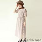 「Summer」配色直條紋復古碎花圖案蓬袖洋裝 (提醒 SM2僅單一尺寸) - Sm2