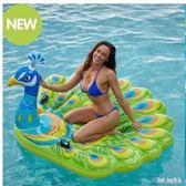超大孔雀充氣坐騎水上動物充氣浮床孔雀游泳圈浮排漂浮氣墊 QG26853『Bad boy時尚』