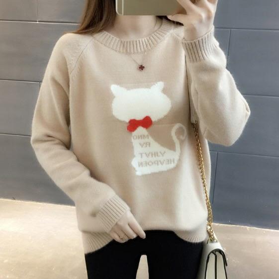 韓妞時尚可愛貓針織毛衣