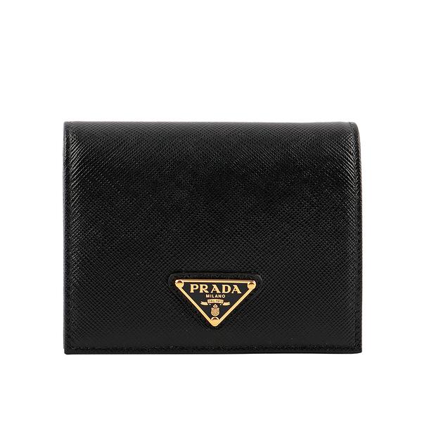 【PRADA】三角牌LOGO防刮牛皮零錢袋短夾(黑色) 1MV204 QHH F0002