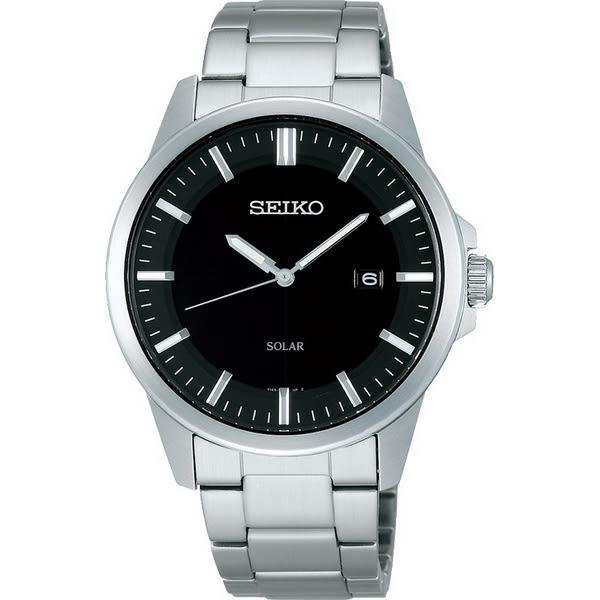 【台南 時代鐘錶 SEIKO】精工 Spirit 太陽能俐落質感腕錶 SBPN091J@V147-0AV0D 黑/銀 39mm