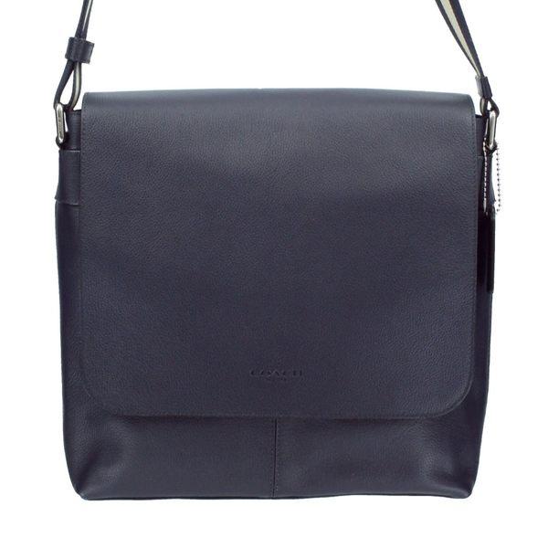 米菲客 COACH 72362 經典品牌LOGO印壓 時尚素面 荔枝紋牛皮皮革 中性款 翻蓋式方型 斜背包 (深藍)