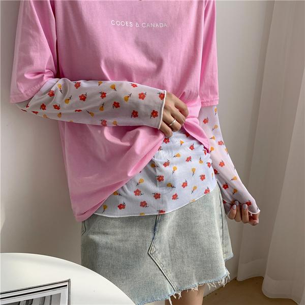 H網紗衣# 防曬衣冰絲長袖t恤女泫雅風同款上衣薄款月亮打底衫緊身內搭 &小咪的店&