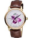 Ogival 愛其華 花繪經典彩繪機械腕錶-蘭花版x玫塊金框 1929-24.4AGR皮