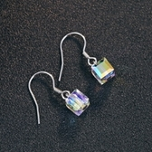 耳環 925純銀 水晶-閃耀魔方生日情人節禮物女飾品73dz20[時尚巴黎]