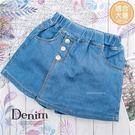 (大童款-女)金屬扣裝飾造型牛仔短褲熱褲...