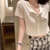 大金bm風緊身短袖t恤冰絲針織開衫女夏白色薄款泫雅短款高腰上衣