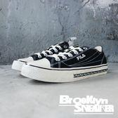 FILA 黑布 奶油底 英文logo 黑邊 帆布鞋 男女 (布魯克林) 2019/1月 4C105T001
