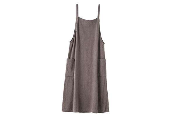 ☆ 莎lala【C704207479】日系吊帶連身裙-(現)棉麻中長版洋裝(SIZE:約M~L)