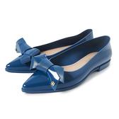 Petite Jolie 可愛領結尖頭果凍娃娃鞋-湛藍