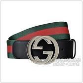 GUCCI 經典金屬銀扣雙G LOGO牛皮鑲飾綠紅綠皮帶(黑)