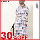 出清 長洋裝 棉麻 格紋 襯衫 免運費 日本品牌【coen】