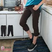 內搭褲--舒適顯瘦側邊蕾絲網布抓皺蝴蝶結七分內搭褲(黑.咖XL-5L)-S76眼圈熊中大尺碼