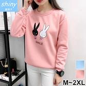【V2119】shiny藍格子-可愛休閒‧卡通兔子寬鬆刷毛長袖上衣