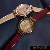 手錶韓版夜光女表鑚石切割面水鑚皮帶OL時尚女士手錶 【年終盛惠】