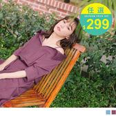 《DA6358》不易皺腰鬆緊細肩帶開襟小V領洋裝 OrangeBear