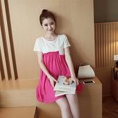 孕婦裝 (短袖連身裙)-時尚拼接寬鬆舒適女連衣裙3色73mx23【時尚巴黎】
