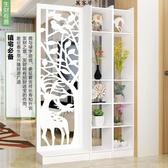 隔斷客廳簡約現代玄關櫃?空雕花白色臥室裝飾門廳櫃置物架 萬客居