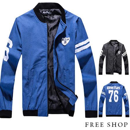 [現貨] 棒球外套【QZZZ3447】美式休閒潮流刺繡貼章76號印花丹寧布牛仔外套棒球外套.二色
