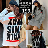 克妹Ke-Mei【AT53862】This Wasy判逆個性背後反印字母寬鬆大T洋裝