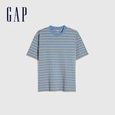 Gap男女同款 棉質舒適厚磅條紋短袖T恤 592502-藍黃條紋