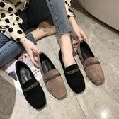 豆豆鞋 鞋子女2020新款網紅百搭韓版粗跟單鞋女淺口懶人鞋春季豆豆鞋女鞋-米蘭街頭