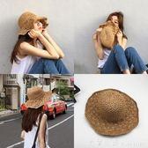草帽 韓版潮可折疊手工大沿草帽女夏天百搭小清新海邊度假防曬遮陽帽子 米蘭街頭