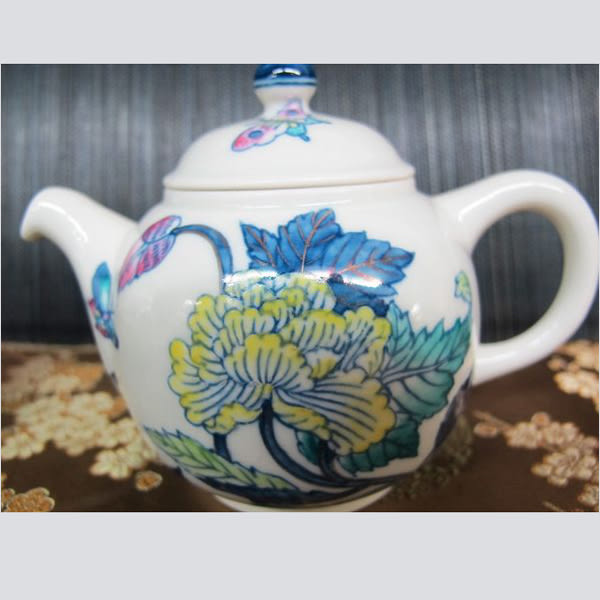 存仁堂 粉彩花卉 茶壺 全祥茶莊 OA39