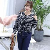 ★韓美姬★中大尺碼~田園風波點長袖襯衫(XL~4XL)