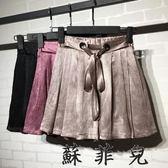 韓版時尚亮色鬆緊腰短褲