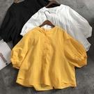 棉麻燈籠袖襯衫上衣-大尺碼 獨具衣格 J3587
