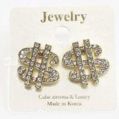 【KP】$$ 錢符號 金色 鑲鑽 水鑽 針式耳環 EA03902