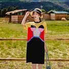 洋裝 韓版純棉拼接圓領短袖寬鬆潮流直筒連身裙 S-L #mf226 ❤卡樂❤