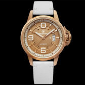 ELEGANTSIS 玫瑰金白色皮帶數字日期皮帶機械錶x44mm・ELJT55A-NR04LC|名人鐘錶高雄門市