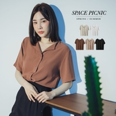襯衫 Space Picnic|V領滑料雪紡短袖襯衫(現貨)【C20053067】