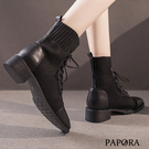 PAPORA百搭保暖套腳懶人短靴中跟馬丁靴KQ7846