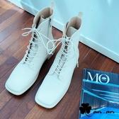 短靴 率真俐落方頭綁帶中筒靴(米)* an.an【18-A683-5mi】【現+預】