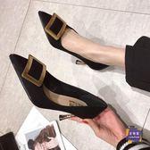 高跟鞋 高跟鞋女細跟2019春季新款網紅性感鞋子法式少女百搭尖頭春款單鞋 3色35-39