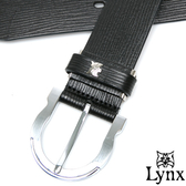 Lynx - 山貓卓越經典款穿針式真皮皮帶-質感黑